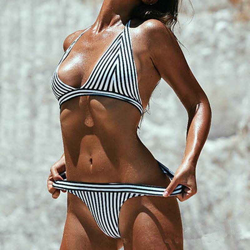 HTB1L.h4RpXXXXaEapXXq6xXFXXXZ - Women Brazilian Bikini Halter Striped Bikini Set JKP027
