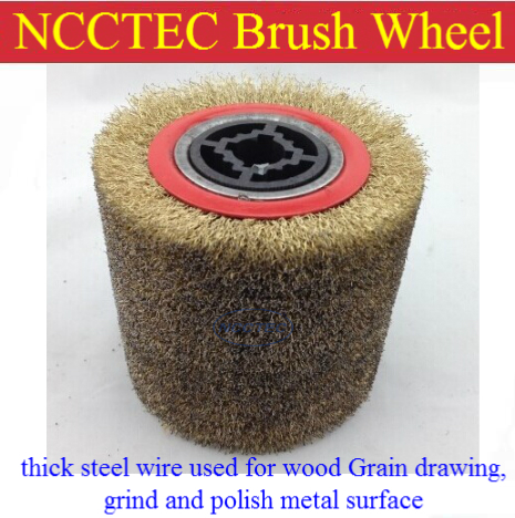 thick steel wire brush used for wood Grain drawing, grind and polish metal surface  FREE shipping | for NCCTEC NSDM950 grinder