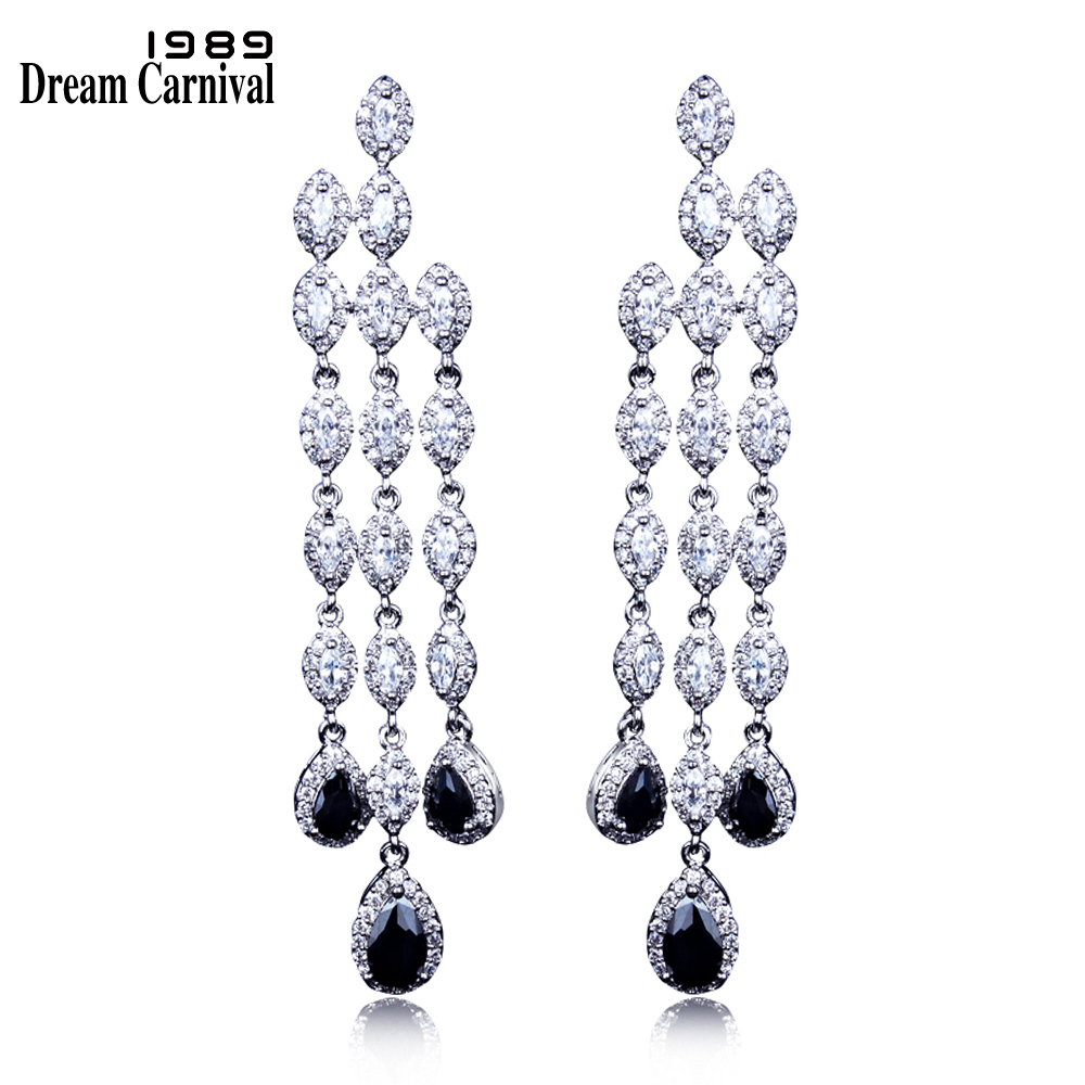 DreamCarnival 1989 Gorgeous Limited Edition Long Drop Earrings for Women Rhodium White Black CZ Wholesales Gift Oorbellen 64871DreamCarnival 1989 Gorgeous Limited Edition Long Drop Earrings for Women Rhodium White Black CZ Wholesales Gift Oorbellen 64871