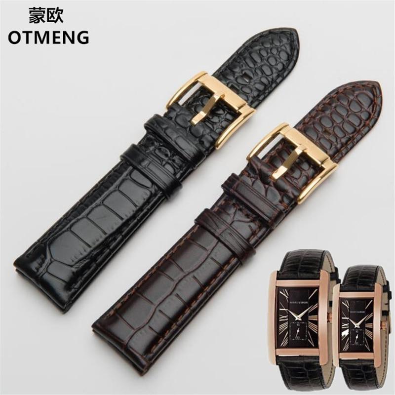 Krokodil patroon lederen gesp voor Armani AR0143 AR0144 AR0168 AR2432 AR2447 horlogeband 18/20/22 / 24mm horlogeband