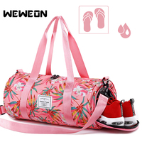 Women Floral Sports Gym Bags For Lady Printing Fitness Training Handbag with Independent Shoes Storage Package Yoga/Travel Tote