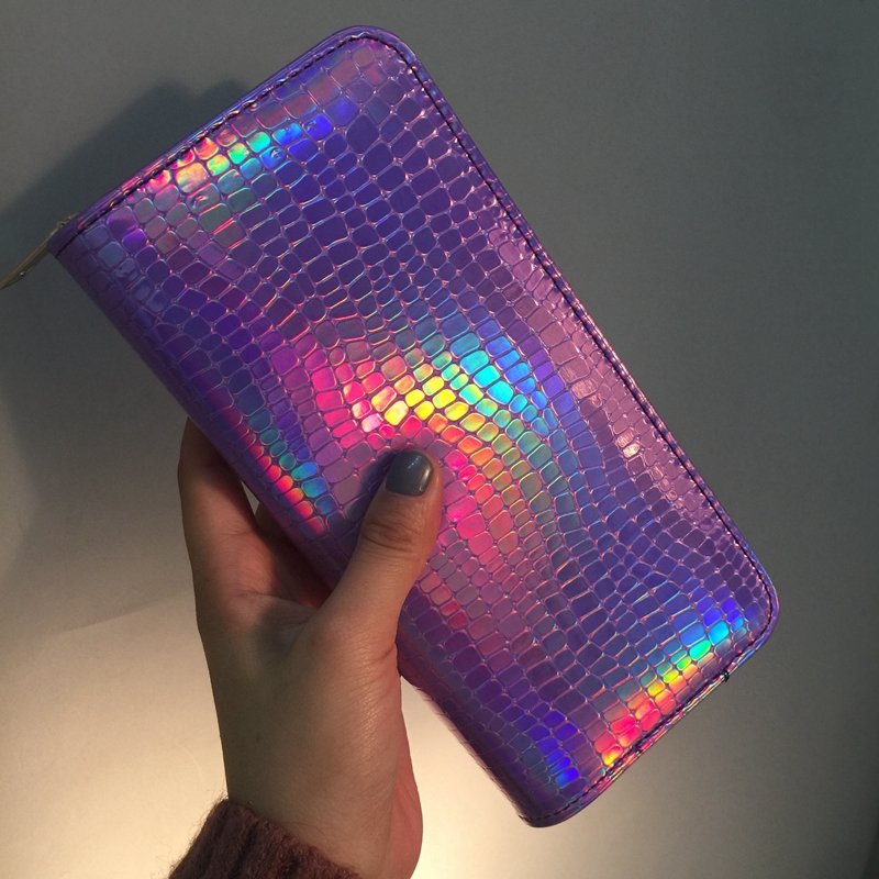 Laser Shiny Women Clutch Wallets Leather Hologram Clutches Zipper Coin Purses Pocket Ladies Purse Long Card Holder Wallet Bag hot sale owl pattern wallet women zipper coin purse long wallets credit card holder money cash bag ladies purses