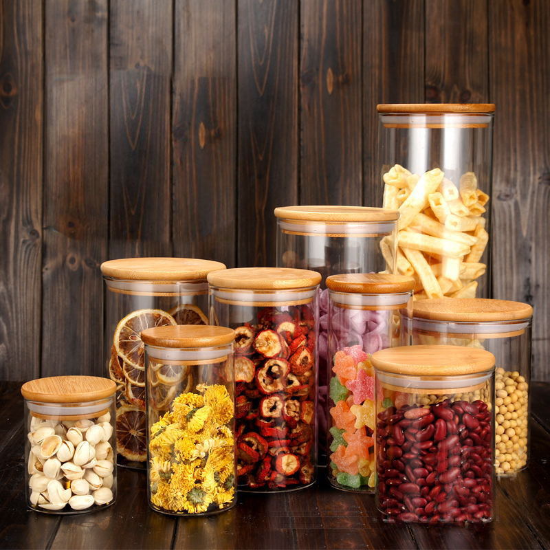 Food Storage Bottles Glass Jar Sealed Cans With Cover Large Capacity Tampion Cereals Candy Jars Tea Box H1102