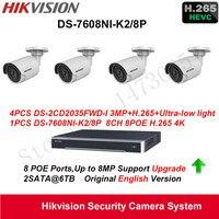 אנגלית 4xDS-2CD2035FWD-I מערכת ביטחון Hikvision 3MP H.265 אור נמוך במיוחד DS-7608NI-K2 Ip האודים POE NVR + 4 K/8 P H.265