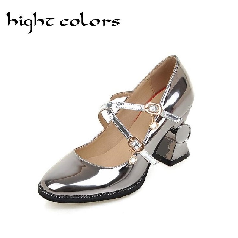 Bling Patent Leather Women Pumps 2017 Gold Silver Mary Jane Shoes Woman Casual Sweet High Heels Purple Pink Bridesmaid Shoes