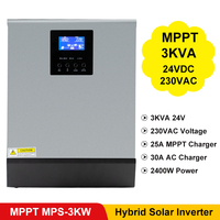 PowMr 3KVA Solar Inverter 2400W 24V 220V Hybrid Inverter Pure Sine Wave 25A MPPT Solar Charger Controller 30A AC Utility Charing