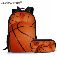 ELVISWORDS Boy School Backpack 2 Pcs/Set Football Stachel Bag Girls Boys Student Pencil Case Book Infantil Escolar Bolsas