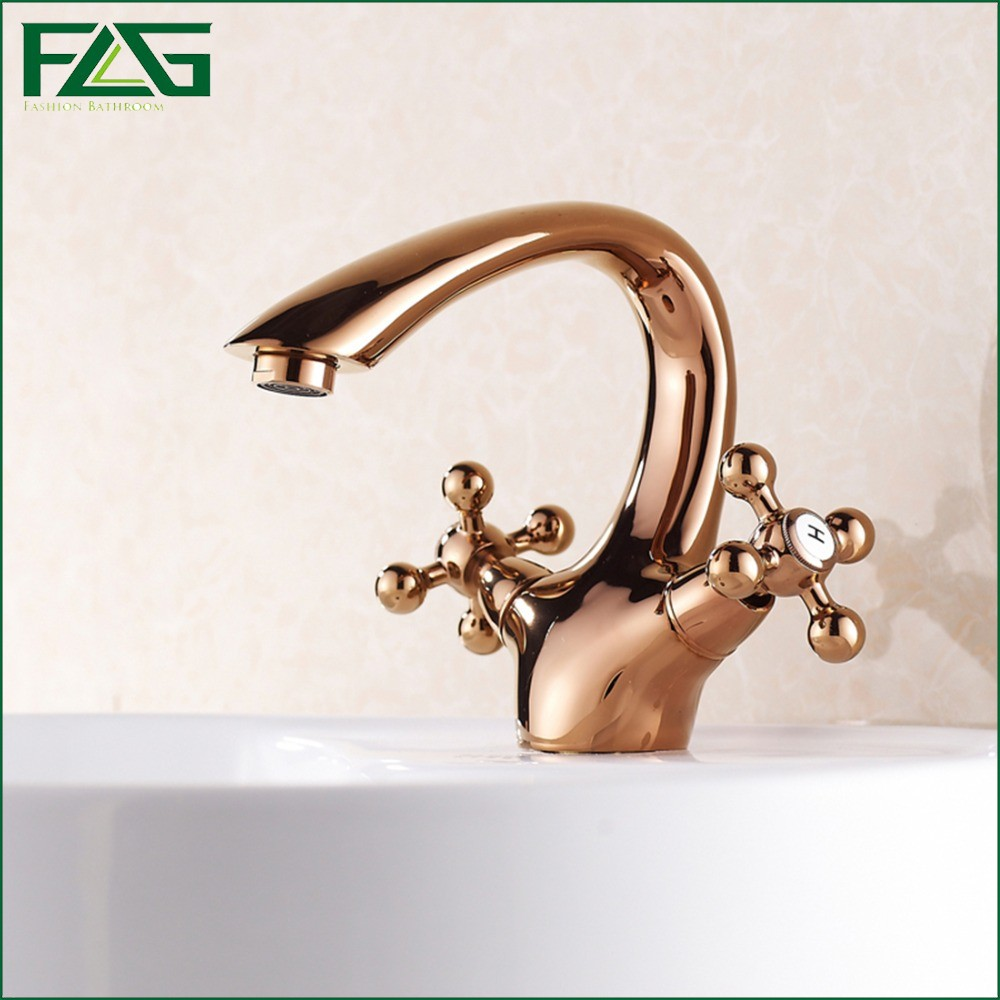 ФОТО FLG European Aristocratic Bath Mat Double Handle Cold & Hot Rose Golden Bottle Plated Brass Tap Garden Basin Bathroom Mixer M139