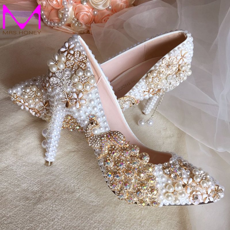 ФОТО Rhinestone Phoenix Flowers Appliques Wedding Shoes White Pearl High Heels Pointed Toe Bride Shoes Pretty Prom Celebrity Shoes