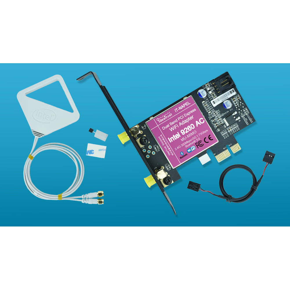 IT-NAPEL-9260AC Intel 9260 AC 9260AC 9260NGW MU-MIMO Bluetooth 5.0 PCI-E PCIe 1x X1 WiFi Card For desktop PC PK Intel 7260 7265IT-NAPEL-9260AC Intel 9260 AC 9260AC 9260NGW MU-MIMO Bluetooth 5.0 PCI-E PCIe 1x X1 WiFi Card For desktop PC PK Intel 7260 7265