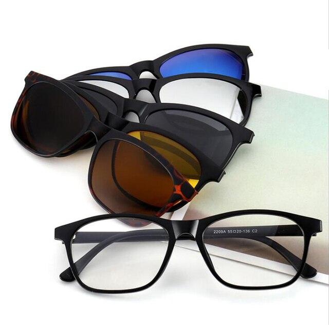 3bea084fd92 QLEMU 2209A Clip on Polarized Sunglasses Men Women Sport Frame Magnetic Sun  Glasses for Night Driving Leather Myopia Glass Case