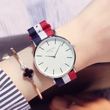 GIMTO Moda Nordic Simple Ultra Thin Relojes de Cuarzo de Las Mujeres Correa de Reloj de Nylon Tejido de Color Mujer Relojes 2017 Marca de Lujo Reloj