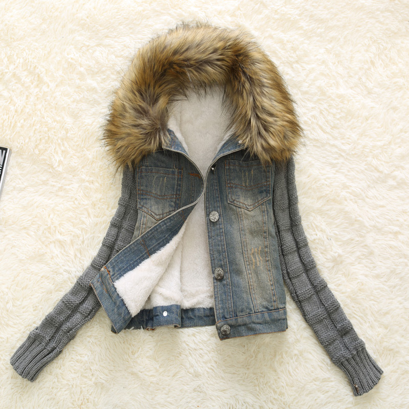 New Bomber Jacket <font><b>Jean</b></font> Women Basic Coats Casaco Feminino Winter Womens Fashion Denim Jacket Movable Furs Collar Wool Ladies Coat