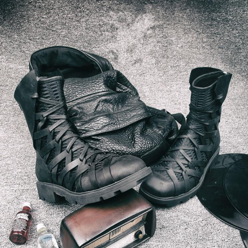En High Punk forme Bottes Style As Show Hommes Sneakers Chaussures Cuir Zip Maille Plate Top Cool D'hiver Retour Cheville Mode Noir OkPZuXi