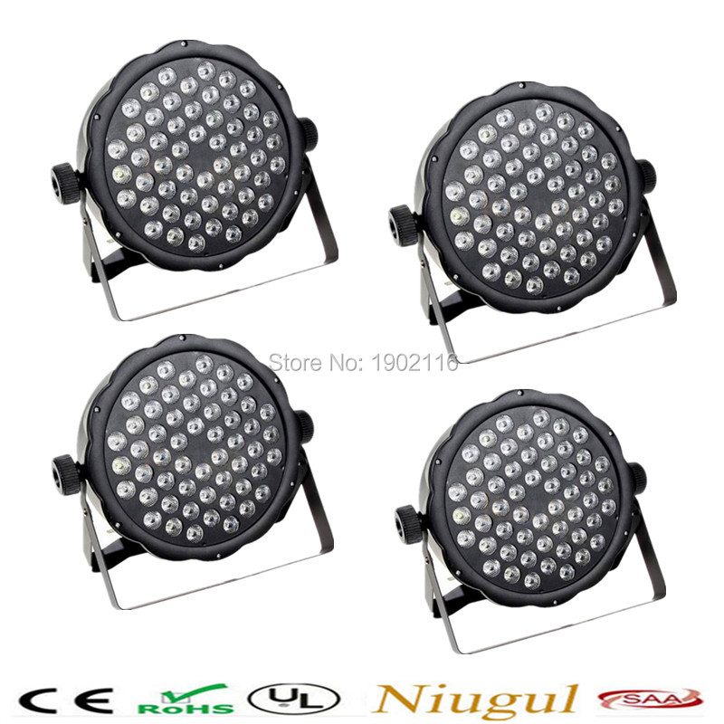 4pcs/lot Free shipping RGBW LED Flat par 54x3w dj disco lights dmx512 stage effect lighting led par lamp LED wash effect light fast russia shipping 7x12w led par lights rgbw 4in1 flat par led dmx512 disco lights professional stage dj equipment