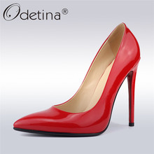 Odetina Fashion Women Extreme High Heels 12cm Dress Pumps Sexy Party Shoes Slip On Pointed Toe Stilettos Thin Heel Plus Size 42 недорого
