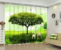 Árvore verde janela blackout 3d cortinas definir para o quarto de cama sala estar escritório do hotel casa parede decorativa tapeçaria|curtain set|3d curtain set|3d curtains -