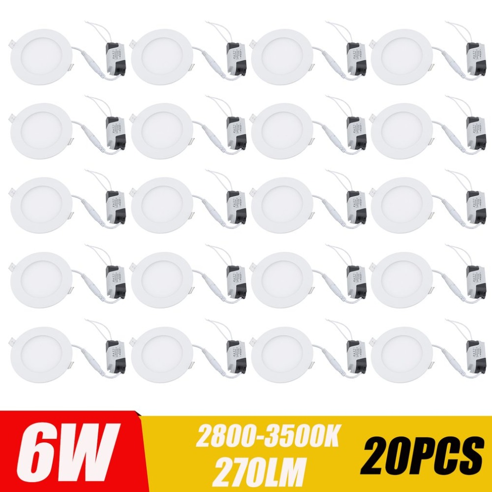 20PCS/SET Super Bright Recessed LED Flat Panels 6W Round Ceiling Lamp Ultraslim LED Panel Light Home Lighting Accessories