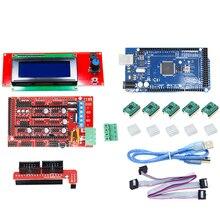 CNC 3D принтеры комплект для Arduino Mega 2560 R3 + пандусы 1,4 + ЖК дисплей 2004 + A4988 шагового драйвер материнской платы 3D принтеры набора arduino
