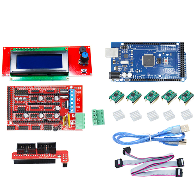 CNC 3D Printer Kit for Arduino Mega 2560 R3 + RAMPS 1.4 + LCD 2004 + A4988 Stepper Driver Motherboard 3d printer arduino kit