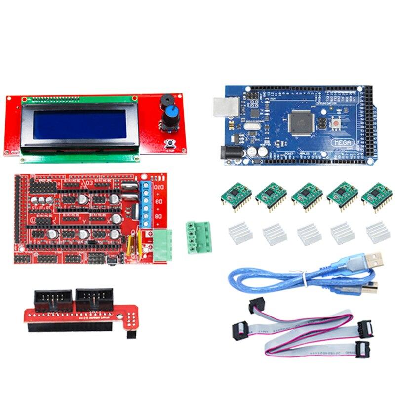 Kit imprimante 3D CNC pour Arduino Mega 2560 R3 + rampes 1.4 + LCD 2004 + A4988 pilote pas à pas