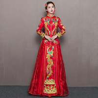 Traditional Fashion Women Embroidery Dress Red Chinese Antiques For Sale Cheongsam Phoenix Bride Wedding Qipao Robe Orientale