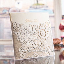 50pcs/lot free shipping New European pocket style laser cut flowers lace design wedding invitation cards with inner blank paper