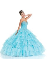 New Latest Design High Quality Tiered Sky Blue Princess Quinceanera Dresses With Jacket Dress 15 Years Sweetheart Beaded