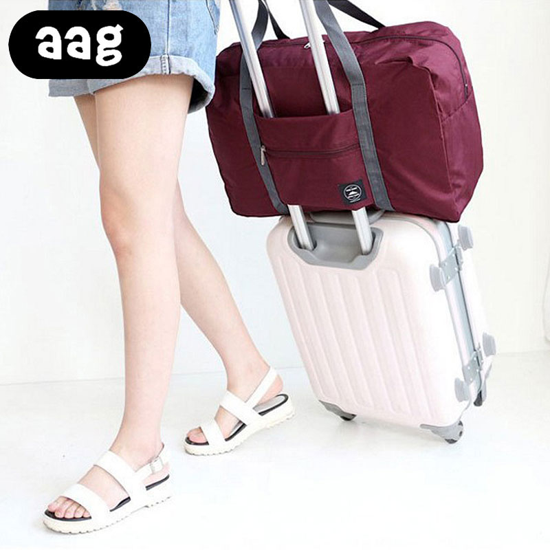 Women Solid Large Waterproof Foldable Travel Weekender Storage Folding Carry Trolley luggage Duffle Bag Totes in Trolley Handle