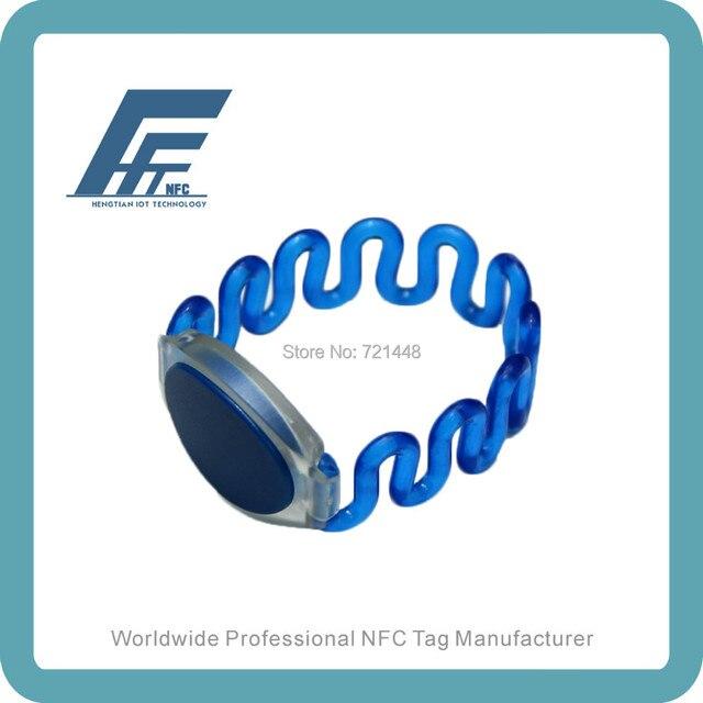 NFC Plastic Closed-loop Wristbands NTAG213 Blue Plastic NFC Wristband 100pcs