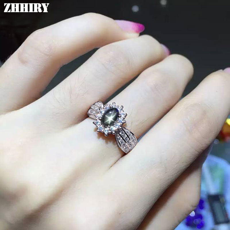 Natural Sapphire Star Stone Ring Genuine Solid 925 Sterling Silver Women Gem Fine Jewelry ZHHIRY