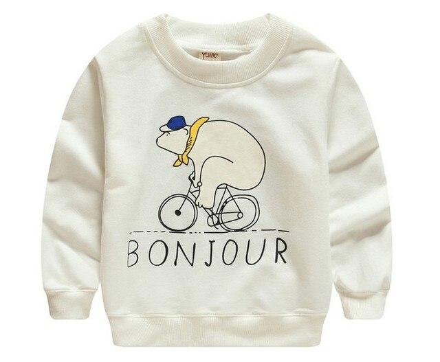 2016 new kids детский мультфильм sweatershirt весна мальчик девочка Пуловеры медведь работает велосипедов