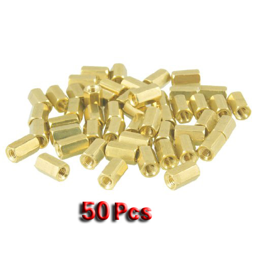 Promotion! 50 Pcs Metal Hex M3 Female Screw PCB Standoff Spacers 8mm Body