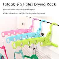 Foldable Clothes Hanger Drying Rack 5 Hole Suit Bathroom Door Plastic Organizer Home Accessories