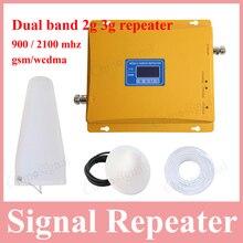 Teléfono celular de banda dual de alta ganancia de la pantalla LCD 900 2100 repetidor de señal celular 2g gsm900 3g w-cdma 2100 mhz UMTS booster amplificador