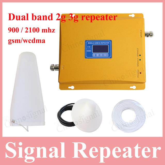 Pantalla lcd de alta calidad de doble banda 2g 3g repetidor gsm900 amplificador de señal de teléfono celular gsm repetidor de señal 900 2100 Amplificador de refuerzo