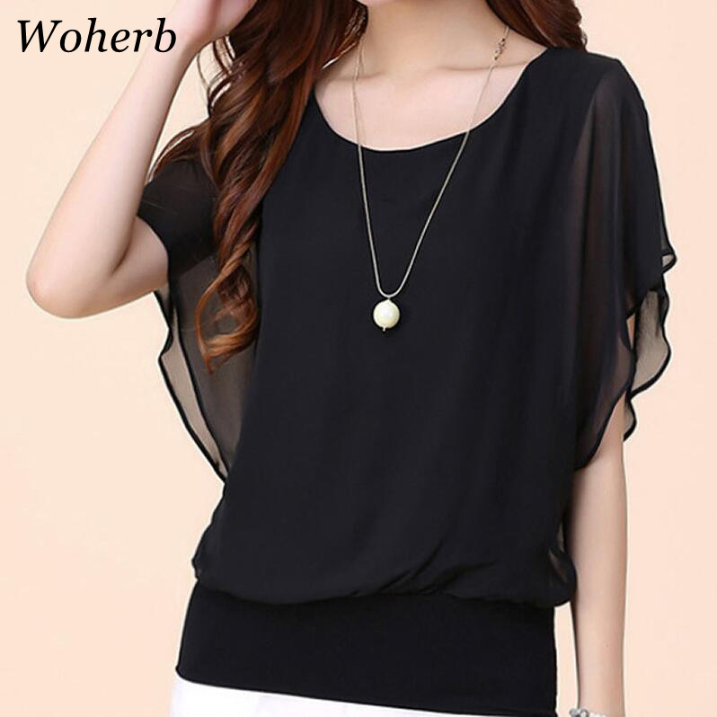 Blouses & Shirts Popular Brand Woherb 2019 Summer M-5xl Plus Size Chiffon Blouse Women Casual Solid Blusas Womens Tops And Blouses Camiseta Mujer 21087 Refreshing And Beneficial To The Eyes