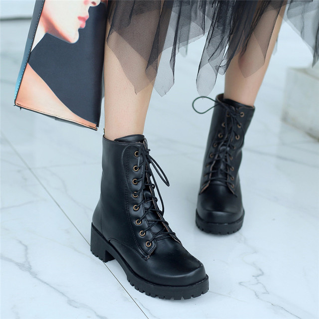 cd225fe10bd YMECHIC 2018 Black Autumn Lace Up Platform Ankle Combat Boots Women Punk Block  Chunky Heels Gothic
