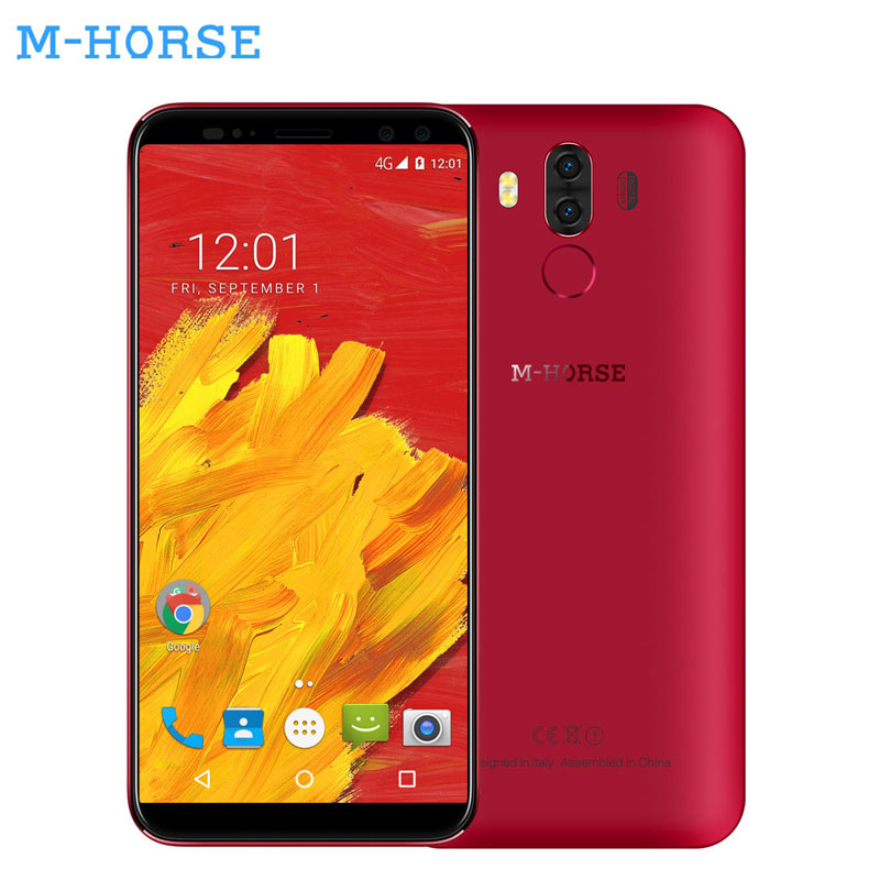 M-HORSE Pure 3 5.7''18:9 Fingerprint 4GB RAM 64GB ROM Mobile Phone 2SIM Android 7.1 Octa Core 13MP+8MP Four Cams 4G Smartphone