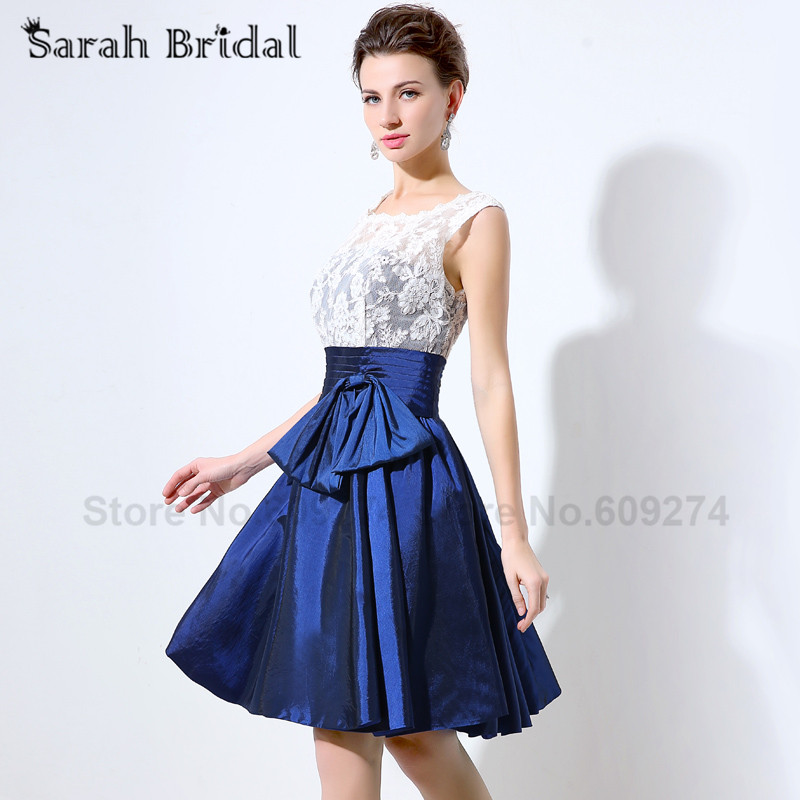 2017 Navy Blue Taffeta Bridesmaid Dresses White Lace Short Prom