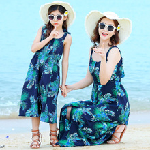 beach mother daughter dresses family beachwear mommy and me clothes matching outfits look mom mum girl dress clothing summer