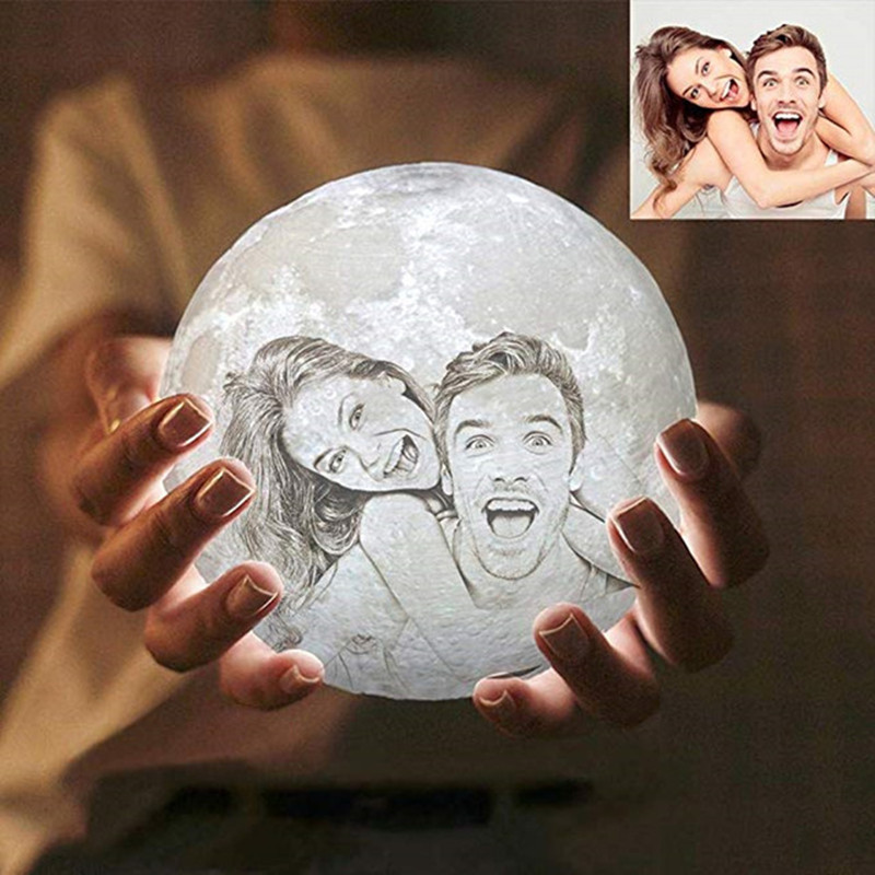 Photo Custom 3D printing moon night light Novelty lamp USB Rechargeable Table decoration Touch/Remote 2/16 Colors Moonlight
