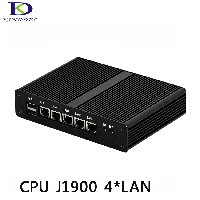 Kingdel 4 LAN Mini Desktop PC Mini Computer Fanless Industrial PC i5 J1900 Quad Core VGA