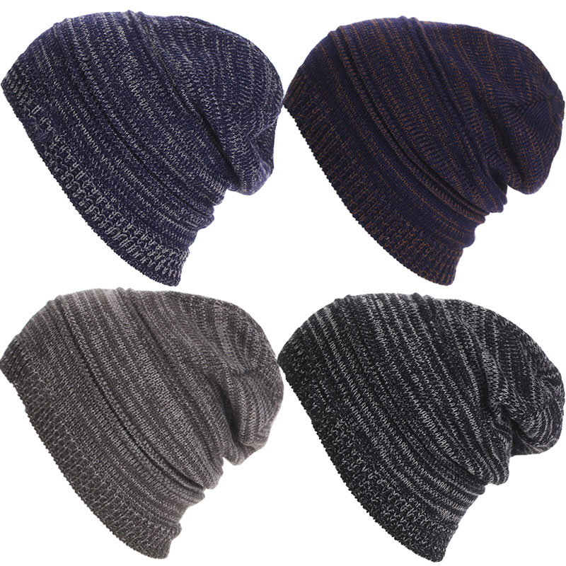 Striped Knitted Beanies Head Cap Hats Winter Outdoor Skiing Snow Warm Caps for Men Women Unisex 88  -MX8 3pcs unisex hats cap beanies for men