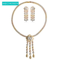 MECHOSEN Women Bridal Nigerian Wedding Jewelry Sets 3 Tone Rose Gold Silver Color Mixed AAA Zirconia