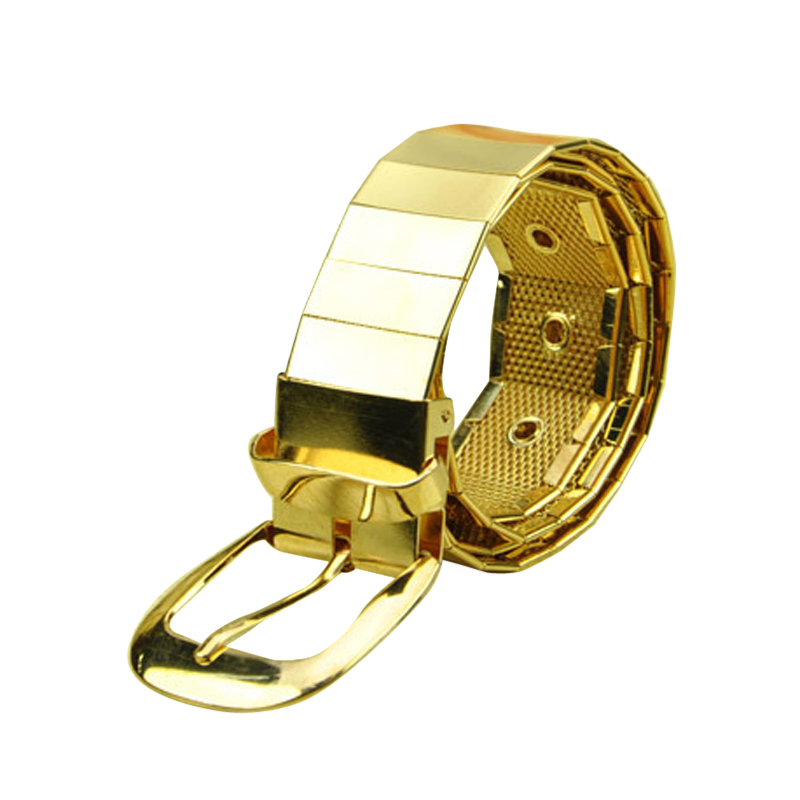 NIBESSER Brand Fashion Gold/Sliver/Black Color Metal Mens Belt For Women Men Wide Waist Belts Casual Luxury Belts Gift 106cm
