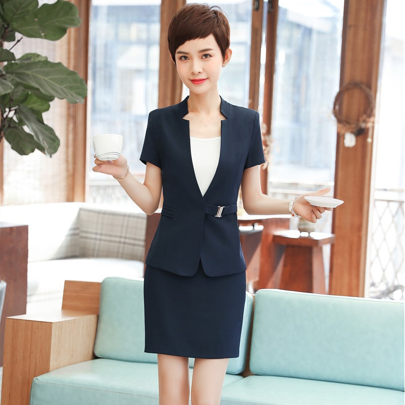 Formal Uniform Styles 2 Pieces With Tops And Skirt Summer Short Sleeve Women Business Interview Job Blazers Sets Plus Size