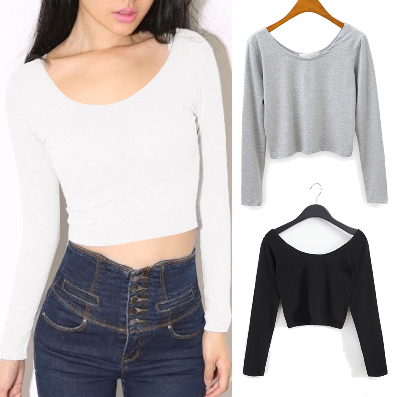 Mode Sexy Vrouwen Hot Solid Colors Lange mouw O-hals kort T-shirt zwart grijs wit