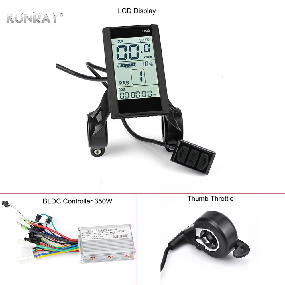 KUNRAY LCD Ebike Display With E Bike Controller 36V Brushless Controller 350W 24V-48V Battery Power Mileage Speed Time USB Phone