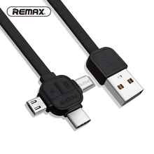 REMAX 3 in 1 usb Type C Cable to Micro USB for xiaomi fast charging data Transfer charger 8pin cables iphone 6 7 8 X